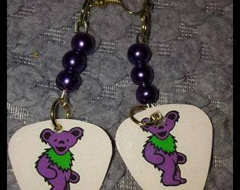 Grateful dead dancing bears guitar pick earrings