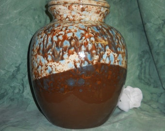 Beige Brown and blue cremation urn,Ceramic jar with lid,urn, Jar with lid,large urn, large jar, art pottery, handmade