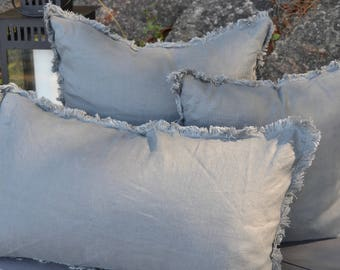 Gray Frayed Pillow Cover, Grey Pillow, Linen Pillow, Rustic Pillow, Frayed Pillow, Farmhouse, Cottage Style