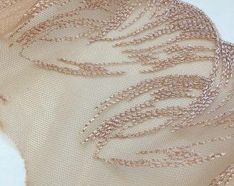 Beige color delicate lace trim, Chantilly lace, Nude French Lace Trim, Wedding Lace , Lingerie Lace AT1805