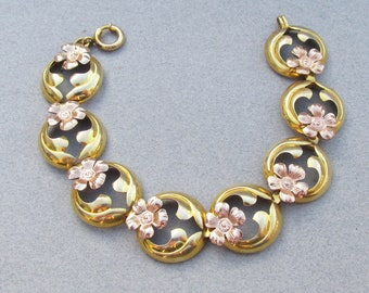 Pretty Antique Art Nouveau Yellow & Rose Gold Filled Flower Link Bracelet