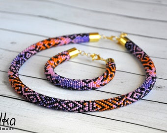 Statement necklace & bracelet, Colorful Boho jewelry set, Purple pink orange ethnic necklace, Ombre choker, Beadwork african jewelry, rope
