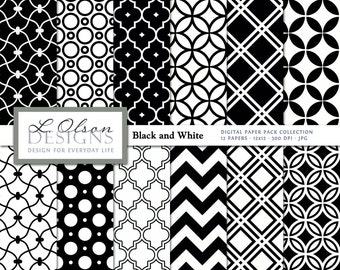 Black und White Paper Pack - 12 digitale Papier Muster - INSTANT DOWNLOAD