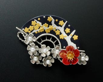 Shakudo and silver plum blossoms brooch of Keum Boo and Hido