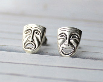 Comedy and Tragedy - antique finish silver plated mismatched post mask earrings, performing arts, theater, movie fan earrings