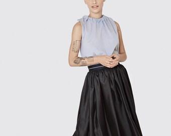 Black silk midi skirt -evening skirt - midi black skirt -full sexy skirt - silk glossy skirt - classic black skirt - party dress