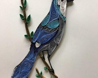 Quilling, quilled art, blue jay, bird, framed art 8x10