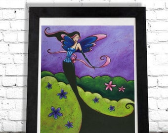 Fairy Art Print, Faerie Fantasy Art, Wall Hanging, Home Decor, Gifts for Her, Girls Dorm Room, Boutique Salon Artwork, Colorful Poster Shano