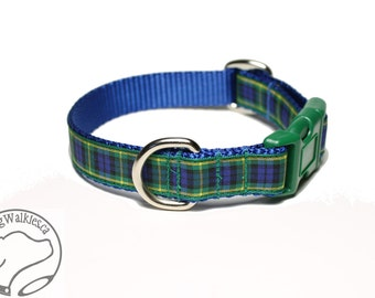 """Gordon Clan Tartan Dog Collar - 3/4"""" (19mm) Wide - Choice of size & style - Martingale or Quick Side Release // Blue and Green Plaid"""