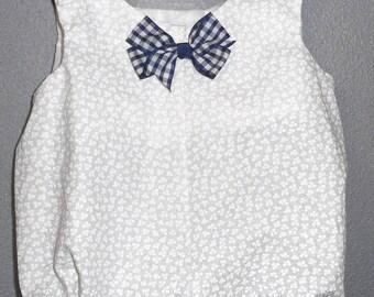 onesie/Bodysuit white bow stripe Blue Navy 0-6 months