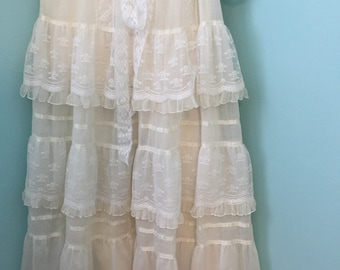 BRIDAL Victorian Revival Dress 70s lace trims XSmall/Small Gunne Sax wedding  XS/S lace mantilla green heart purse