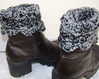 Black and Gray hand crocheted winter warm boot cuffs with scallop edging