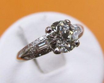 ANTIQUE  Old Minor DIAMOND ENGAGEMENT Solitaire Ring Baguette Platinum