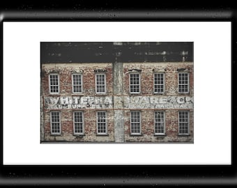 Savannah Photography-Industrial Wall Art-Architectural Photography-White Hardware-Warehouse Wall Decor-Whitewash-Distressed Brick Building