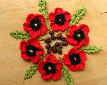 Рoppies set of 6 Red flowers and 6 green leaves applique  Crochet poppies  green leaves  Handmade flowers