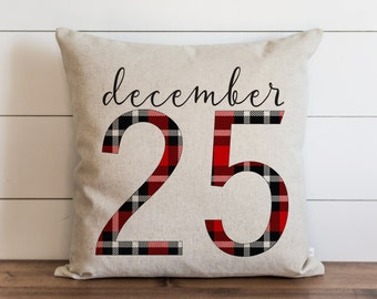 December 25 20 x 20 Pillow Cover // Plaid // Christmas // Holiday // Throw Pillow // Gift  // Accent Pillow
