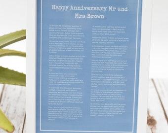 100% Bespoke 'Anniversary' Poetry Print - Anniversary Gift, Wedding Anniversary, First Anniversary, Bespoke Poem, Custom Poem, Poetry Print