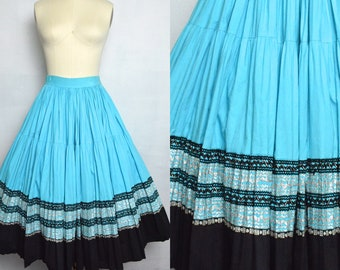 Vintage 1950s Patio Circle Skirt 50s Squaw Turquoise and Black