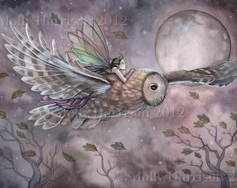 Fairy Art - Soaring - Original Fairy and Owl Fine Art Giclee PRINT by Molly Harrison 12 x 8