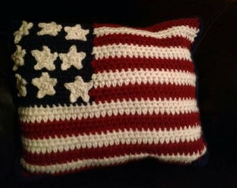 Crocheted American Flag Pillow