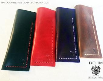 Leather pen pouch, leather pencil pouch, leather pen case, leather pencil case - Handmade