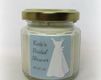 Bridal Favor Soy Candles, Bridal Shower, Wedding Favor, Custom, 4 ounce 12 sided jar, Quantity Discounts