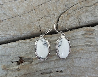 ON SALE White Buffalo turquoise earrings handmade and signed in sterling silver 925