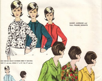 Bust 32-FACTORY FOLDED Misses' Propotioned Blouses Vogue 3020  Size 12