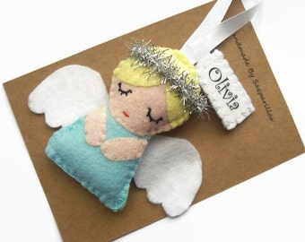Christmas Angel Ornaments, Personalised Gift, Christmas Tree Decorations, Felt Hanging Decorations