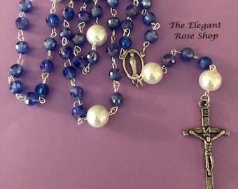 Beautiful Handmade Rosary in Blue