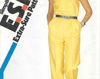 Simplicity 5825 1980s Sleeveless Jumpsuit Vintage Sewing Pattern Size 10 Adjustable to Petite