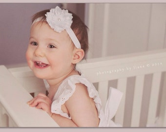 White baby baptism flower on soft stretch headband newborn to 6 years