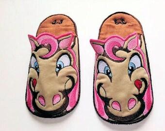 Horse Bedroom Slippers, Children's Slippers,  Bedroom Slippers, House slippers, Made to Order