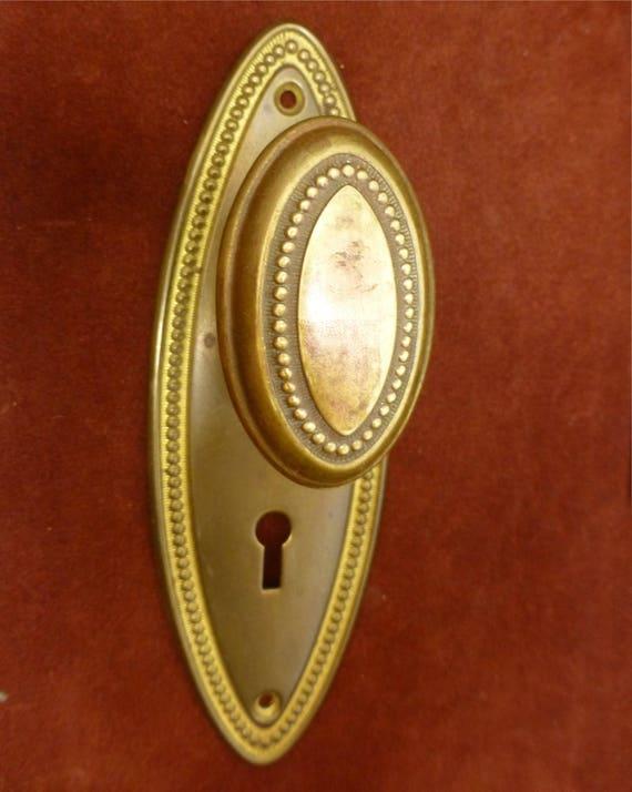 Vintage Door Knob Set Antique Brass Beaded Oval Doorknob