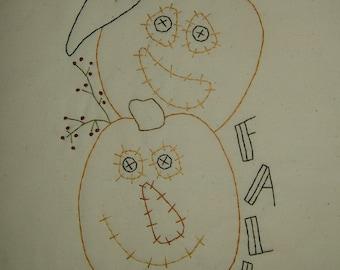 Primitive Stitchery~Pumpkins/Jack-O-Lanterns~Fall