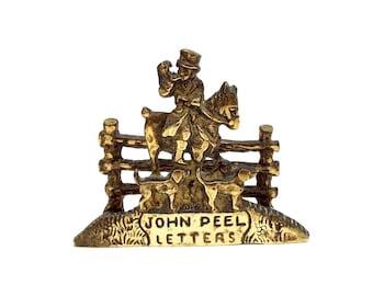 Brass Letter Rack, John Peel Letters Holder, Vintage Mail Storage, Small Postal Organiser, Brass Office Decor, Old Hunting Letter Rack