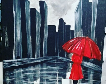 Lady in Red with Umbrella
