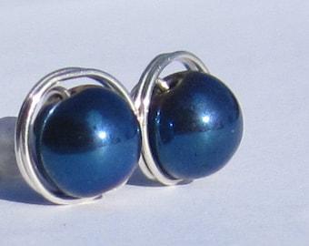Large Blue Hematite Stud Earrings (10mm), Gemstone Stud Earrings, Wire Wrapped Sterling Silver Stud Earrings, Big Hematite Stud Earrings