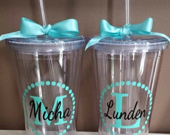 Monogram Personalized Tumbler - Monogrammed Tumbler - Personalized Tumbler with Lid and Straw - BPA Free - 16 oz