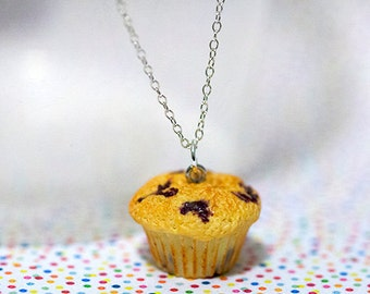 Miniature Food Necklace Blueberry Muffin with Sterling Silver Chain