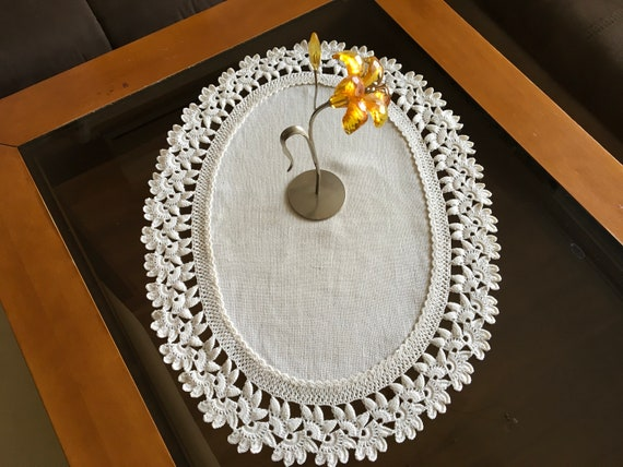 Natural Linen Doily Crochet Beige Handmade Vintage Lace Table Runner Doily Tableware Centerpiece Tablecloth Gift for Mom Mothers day gift