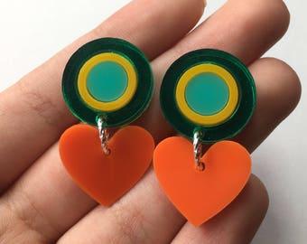 Orange, yellow, turquoise & green mirror round drops (Laser Cut Earrings)