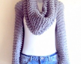 SALE! Wrap Around Set Loose Knit Shrug Cowl Tube Scarf Cowl Bolero Capelet Wrap Cover Up Hoodie