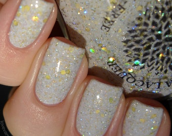 Cream crelly with holo gold and silver glitter nail polish by Black Dahlia Lacquer - Olaf's Snowflowers - 5-free and handmade