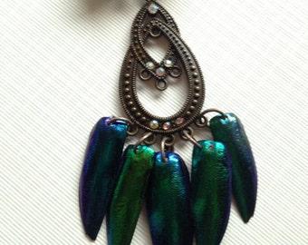 Art Nouveau Elytra Beetle Wing Necklace