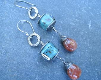 Sunstone earrings, teal blue earrings, lampwork glass earrings, hammered silver earrings, long earrings, boho earrings, oxidized silver
