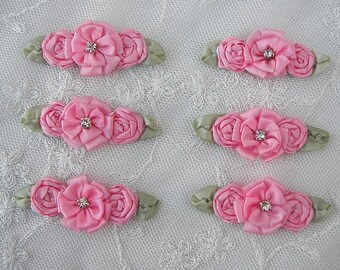 6 pc Rose Pink ribbon rosette spider rose flower floral w stone baby dog bow applique