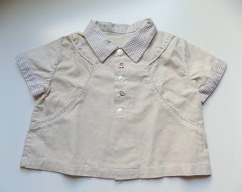 50s Boys Top, Button Down, Country, Western, Chicks, Chickadee, Embroidered, Size 2 - 3T, Toddler, Boys Vintage, Kids Vintage Clothing