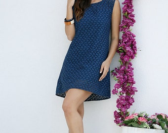 Feminine summer dress made of cotton-mini dress with elaborate embroidery-short dress in dark blue