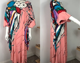 Vtg 80s Yolanda Lorente painted silk abstract avant garde dress M